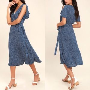 Lulu's Gimme Your Love Polka Dot Wrap Midi Dress